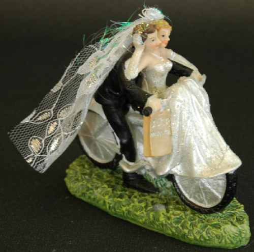 Bride & Groom on Bicycle